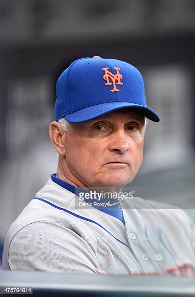 Terry Collins of the New York Mets looks out from the dugout before a baseball game against the San Diego Padres at Petco Park June 1 2015 in San...