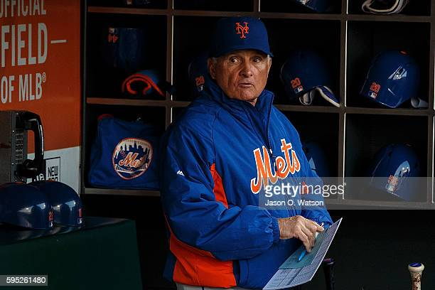 Terry Collins of the New York Mets stands in the dugout before the game against the San Francisco Giants at ATT Park on August 18 2016 in San...