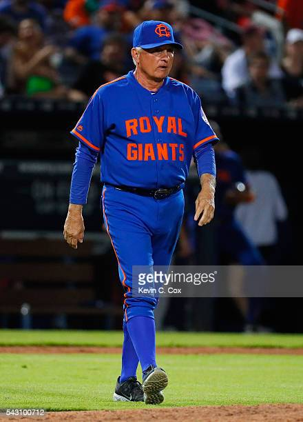 Terry Collins of the New York Mets walks to the mound in the ninth inning against the Atlanta Braves at Turner Field on June 25 2016 in Atlanta...