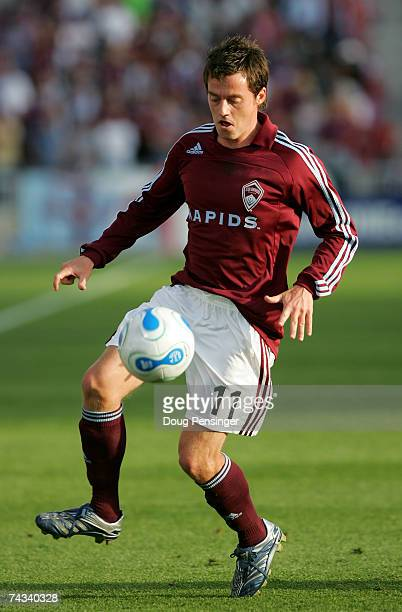 Terry Cooke of the Colorado Rapids controls the ball against the Los Angeles Galaxy as the Rapids defeated the Galaxy 1-0 during MLS action at Dick's...