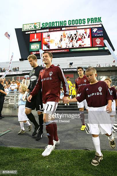 Terry Cooke of the Colorado Rapids enters the field prior to the game against the Columbus Crew on July 27, 2008 at Dicks Sporting Goods Park in...