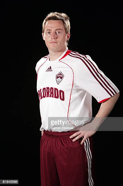 Terry Cooke of the Colorado Rapids models the teams new third jersey during a press conference on July 7, 2008 at Dicks Sporting Goods Park in...