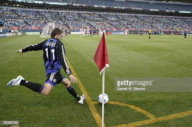 Terry Cooke the Colorado Rapids approaches a corner kick during the MLS game against Chivas USA on July 20, 2006 at Invesco Field at Mile High in...