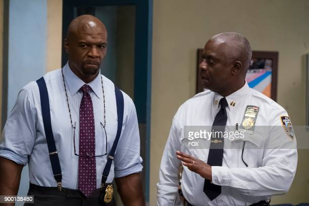 Terry Crews and Andre Braugher in the Game Night Godfather special one hour episode of BROOKLYN NINENINE airing Tuesday Dec 12 on FOX