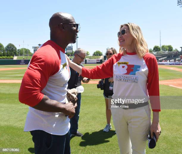Terry Crews and Geena Davis attend 'A League of Their Own' 25th Anniversary Game at the 3rd Annual Bentonville Film Festival on May 7 2017 in...