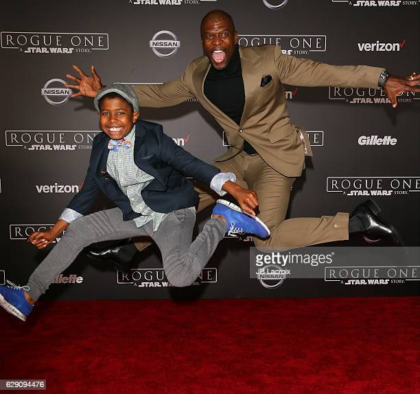Terry Crews and Isaiah Crews attend the Premiere of Walt Disney Pictures and Lucasfilm's 'Rogue One A Star Wars Story' on December 10 2016 in...