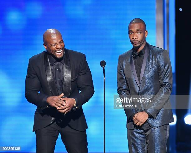 Terry Crews and Jay Pharoah speak onstage at the 49th NAACP Image Awards on January 15 2018 in Pasadena California