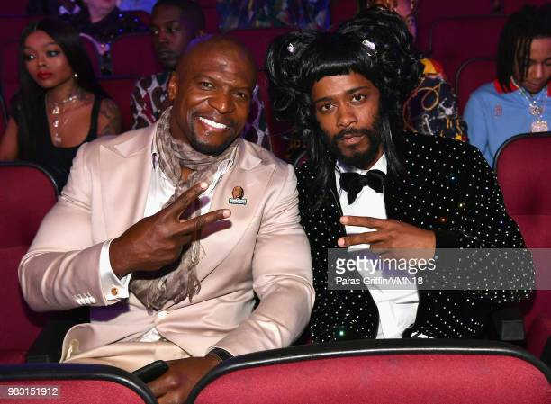 Terry Crews and Lakeith Stanfield attend the 2018 BET Awards at Microsoft Theater on June 24 2018 in Los Angeles California