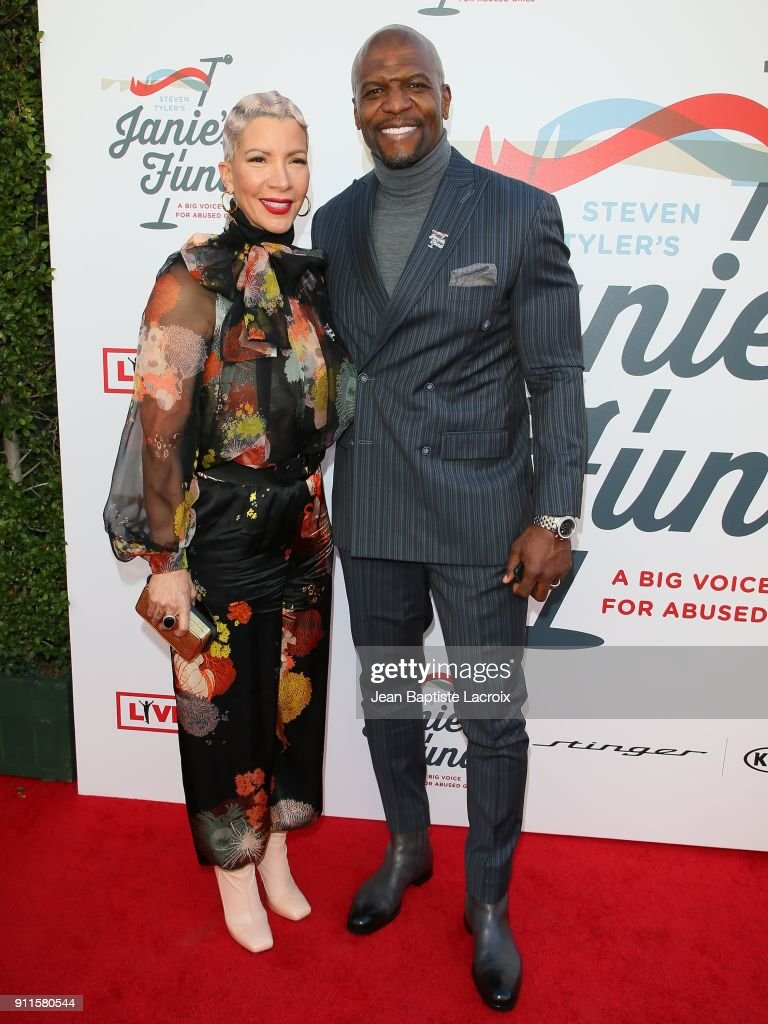 Terry Crews and Rebecca King at Steven Tyler and Live Nation presents Inaugural Janie's Fund Gala & GRAMMY Viewing Party at Red Studios on January 28, 2018 in Los Angeles, California.