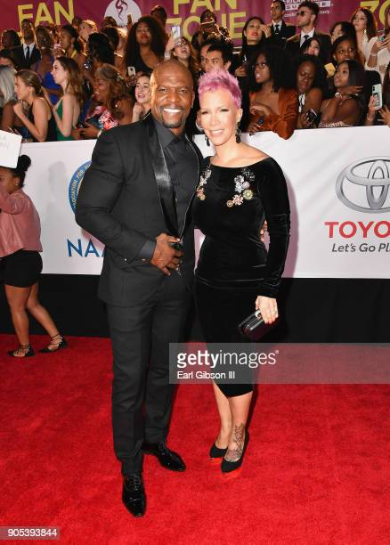Terry Crews and Rebecca KingCrews at the 49th NAACP Image Awards on January 15 2018 in Pasadena California