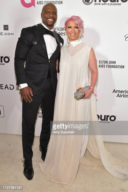Terry Crews and Rebecca KingCrews attend the 27th annual Elton John AIDS Foundation Academy Awards Viewing Party celebrating EJAF and the 91st...