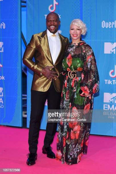 Terry Crews and Rebecca KingCrews attend the MTV EMAs 2018 on November 4 2018 in Bilbao Spain
