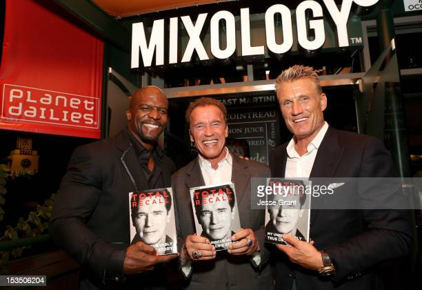 """Terry Crews, Arnold Schwarzenegger and Dolph Lundgren attend the Arnold Schwarzenegger """"Total Recall"""" Book Party at Mixology101 & Planet Dailies on..."""