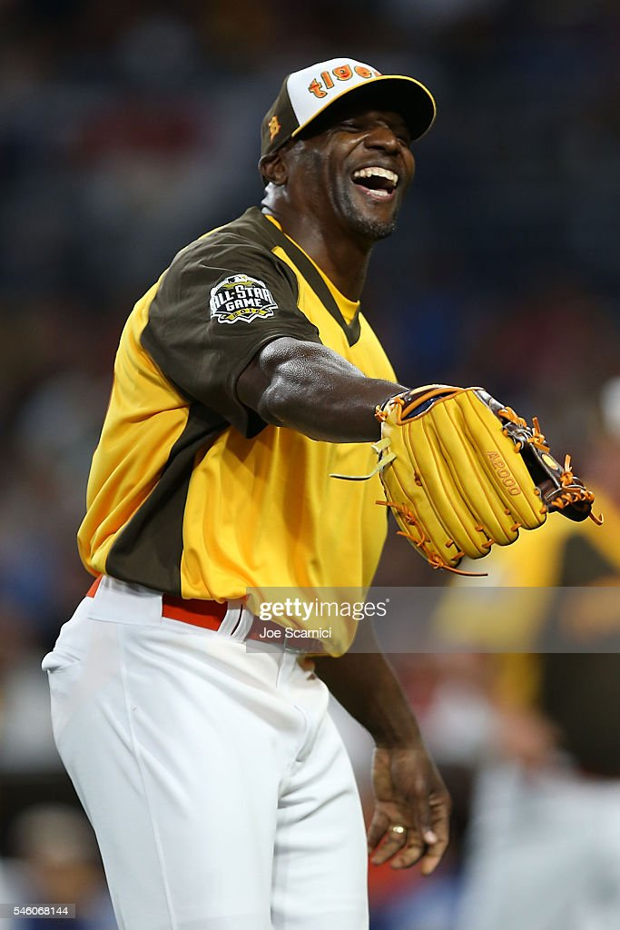 Terry Crews in action during the MLB 2016 All-Star Legends and Celebrity Softball Game at PETCO Park on July 10, 2016 in San Diego, California.