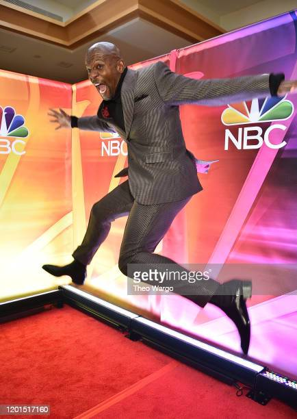Terry Crews jumps at the NBC Midseason New York Press Junket at Four Seasons Hotel New York on January 23, 2020 in New York City.