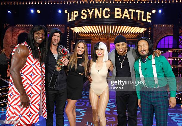 Terry Crews Michael Phelps Colorful commentator Chrissy Teigen Olivia Munn Host LL Cool J and John Legend onstage during Spike TV's Lip Sync Battle...