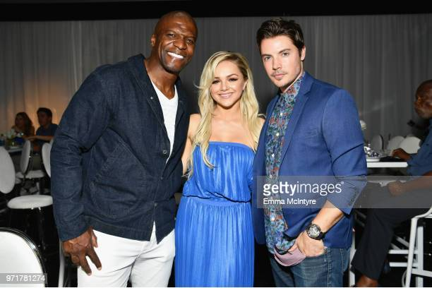 Terry Crews Oana Gregory and Josh Henderson attend the Fourth Annual Los Angeles Dodgers Foundation Blue Diamond Gala at Dodger Stadium on June 11...