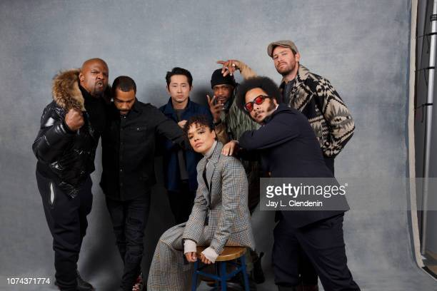 Terry Crews Omari Hardwick Steven Yeun Tessa Thompson LaKeith Stanfield Boots Riley and Armie Hammer from Sorry to Bother You are photographed for...
