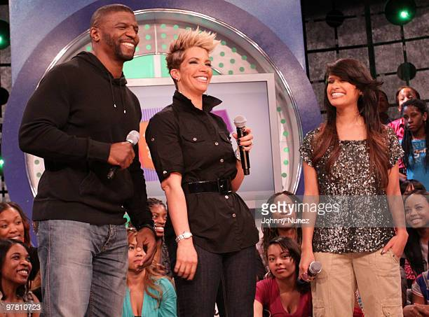 Terry Crews Rebecca Crews Rocsi and Terrence J on the set of BET's 106 Park at BET Studios on March 17 2010 in New York City