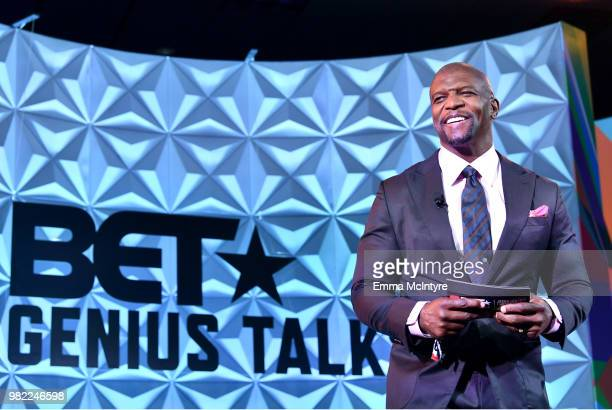 Terry Crews speaks onstage at the Genius Talks sponsored by ATT during the 2018 BET Experience at the Los Angeles Convention Center on June 23 2018...
