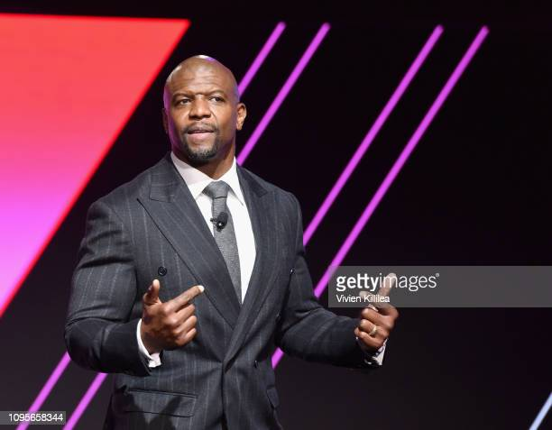 Terry Crews speaks onstage during The 2019 MAKERS Conference at Monarch Beach Resort on February 8 2019 in Dana Point California