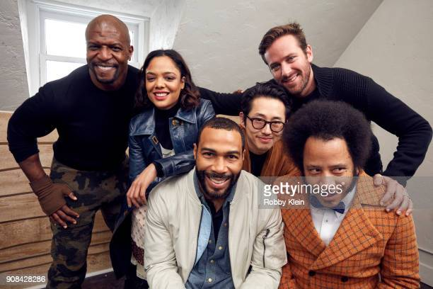 Terry Crews Tessa Thompson Omari Hardwick Steven Yeun Armie Hammer and Director Boots Riley from the film 'Sorry To Bother You' pose for a portrait...