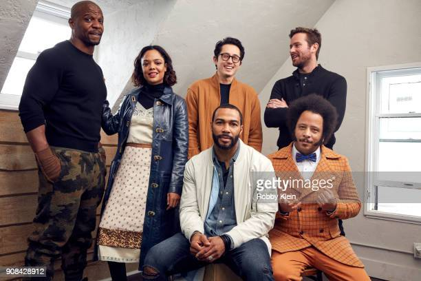 Terry Crews Tessa Thompson Steven Yeun Omari Hardwick Armie Hammer and Director Boots Riley from the film 'Sorry To Bother You' pose for a portrait...