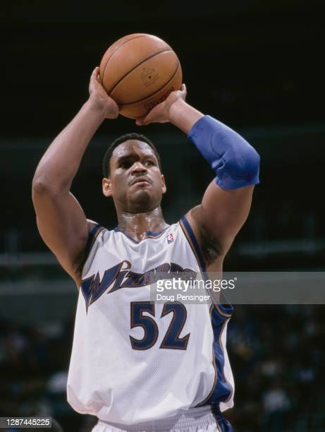Terry Davis, Center for the Washington Wizards prepares to make a free throw during the NBA Atlantic Division basketball game against the Vancouver...
