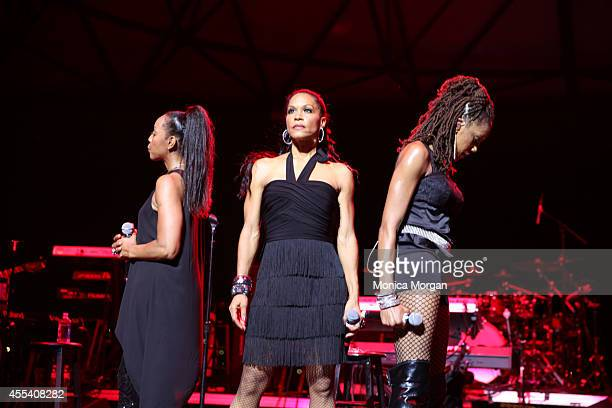 Terry Ellis and Cindy Herron and Rhona Bennett of En Vogue perform at Chene Park on August 31 2014 in Detroit Michigan