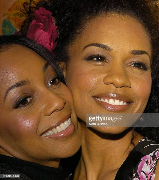 Terry Ellis and Cindy Herron during 18th Annual Soul Train Music Awards Nominations at Spago Restaurant in Beverly Hills California United States