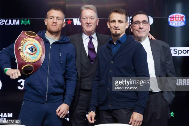 Terry Flanagan and Petr Petrov head to head with Promoters Frank Warren and Artie Pelullo after their press conference at the Etihad Campus on April...