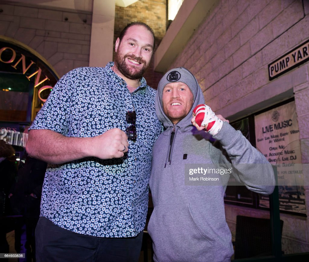 Terry Flanagan meets Tyson Fury during his public workout at The Printworks on April 5, 2017 in Manchester, England.