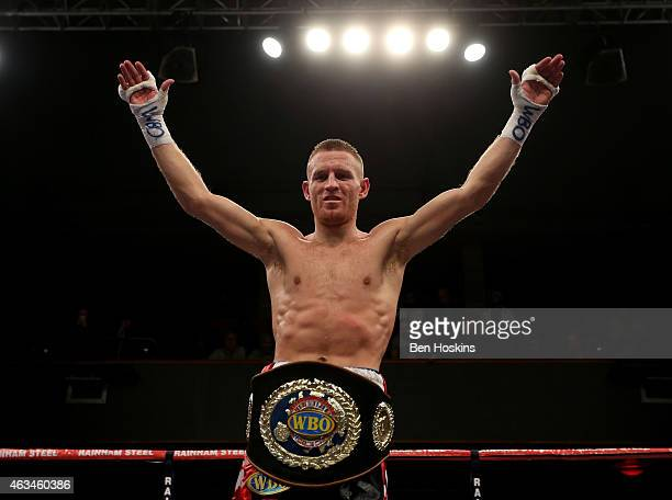 Terry Flanagan poses with the European Lightweight Championship title belt after defeating Stephen Ormond during their WBO European Lightweight...