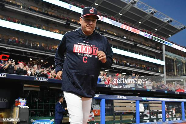 Terry Francona of the Cleveland Indians is introduced prior to game one of the American League Division Series against the New York Yankees at...