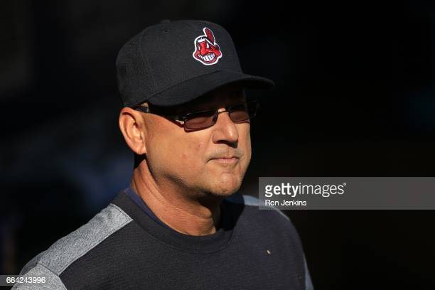 Terry Francona of the Cleveland Indians looks on before the Cleveland Indians take on the Texas Rangers on Opening Day at Globe Life Park in...