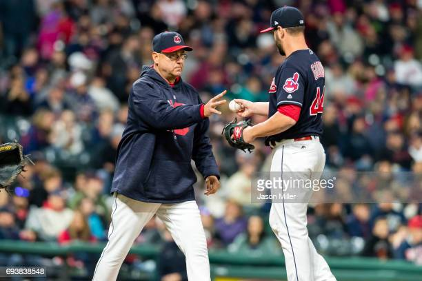 Terry Francona of the Cleveland Indians removes relief pitcher Nick Goody of the Cleveland Indians during the ninth inning against the Minnesota...