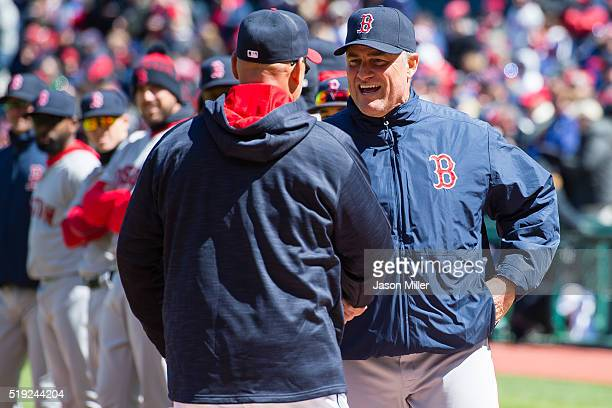 Terry Francona of the Cleveland Indians shakes hands with John Farrell of the Boston Red Sox prior to the opening day game at Progressive Field on...