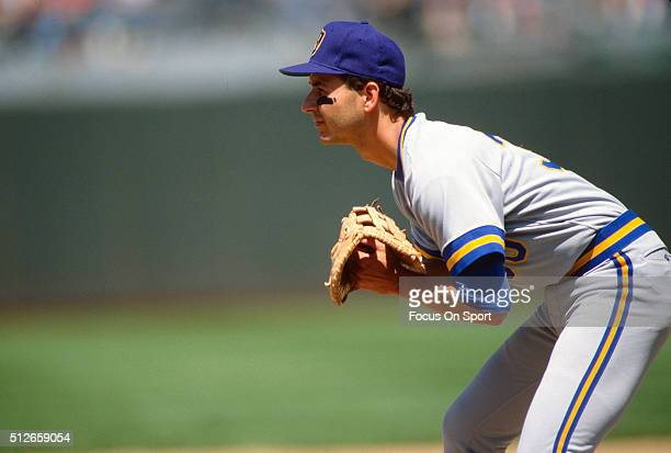 Terry Francona of the Milwaukee Brewers is down and ready to make a play on the ball against the Oakland Athletics during a Major League Baseball...