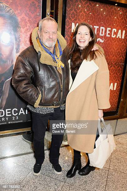 Terry Gilliam and Amy Gilliam attend the UK Premiere of 'Mortdecai' at Empire Leicester Square on January 19 2015 in London England