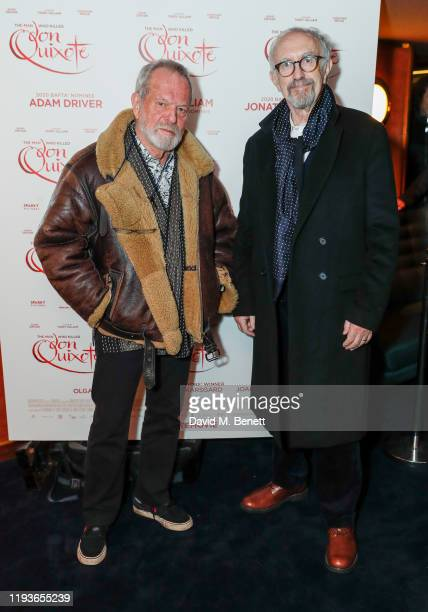 """Terry Gilliam and Jonathan Pryce attend a special screening of """"The Man Who Killed Don Quixote"""" at The Curzon Mayfair on January 14, 2020 in London,..."""
