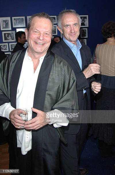 Terry Gilliam and Jonathan Pryce during The Times BFI 49th London Film Festival The Brothers Grimm at Odeon in London Great Britain