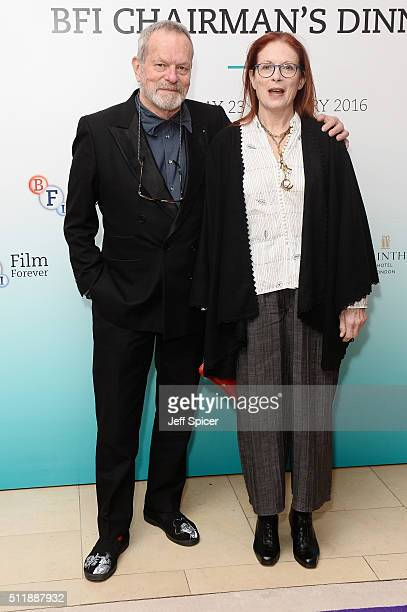 Terry Gilliam and Maggie Weston arrive at the BFI Chairman's Dinner where Hugh Grant is Awarded with his BFI Fellowship at The Corinthia Hotel on...