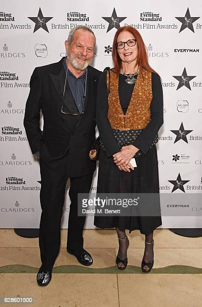 Terry Gilliam and Maggie Weston arrive at The London Evening Standard British Film Awards at Claridge's Hotel on December 8 2016 in London England