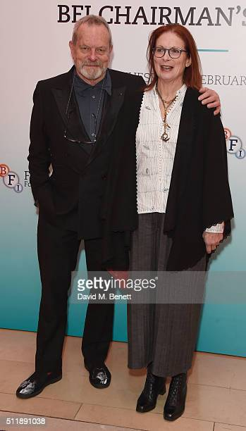 Terry Gilliam and Maggie Weston attend the BFI Chairman's Dinner at The Corinthia Hotel on February 23 2016 in London England