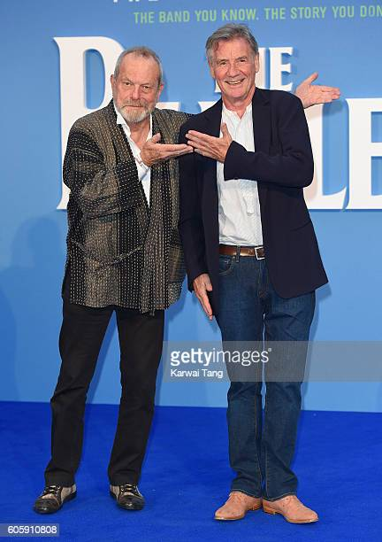Terry Gilliam and Michael Palin arrive for the World premiere of 'The Beatles Eight Days A Week The Touring Years' at Odeon Leicester Square on...