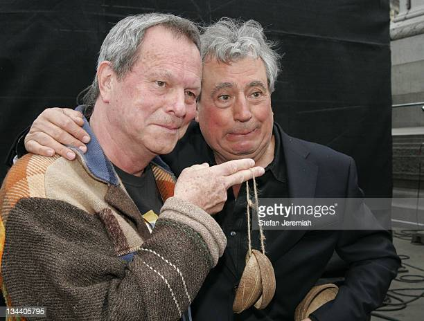 Terry Gilliam and Terry Jones during Spamalot: Guinness Book Of Records Attempt - Photocall at Trafalgar Square in London, Great Britain.