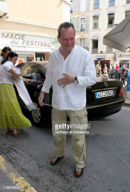 Terry Gilliam during 2005 Cannes Film Festival Monica Belluci and Terry Gilliam Sightings Day 3 at Olympia Cinema in Cannes France
