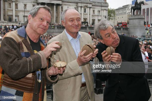 Terry Gilliam Ken Livingstone and Terry Jones during Spamalot Guinness Book Of Records Attempt Photocall at Trafalgar Square in London Great Britain