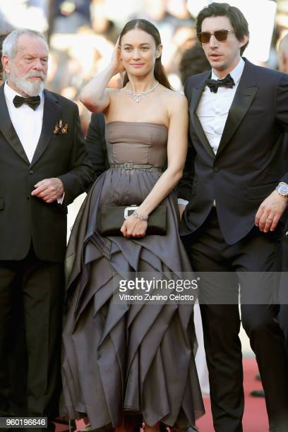 Terry Gilliam Olga Kurylenko and Adam Driver attend the screening of Closing Ceremony 'The Man Who Killed Don Quixote' during the 71st annual Cannes...