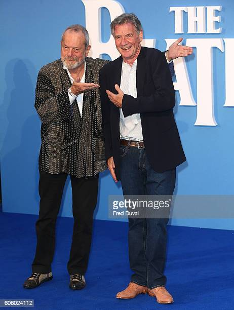 Terry Gillian and Michael Palin arrive for the World premiere of 'The Beatles Eight Days A Week The Touring Years' at Odeon Leicester Square on...